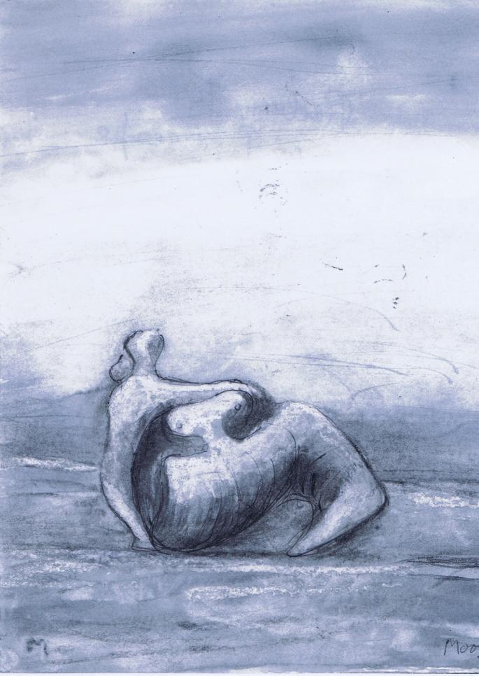ヘンリー・ムーア_Reclining Figure_charcoal,wax crayon,watercolour,ballpoint pen on lightweight wove_226×181_1980 - サイズ小 - コピー