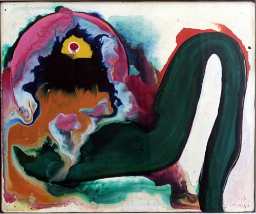 元永定正 作品 1966年 油性・合成樹脂エナメル、キャンバス 22.2 x 27.5cm